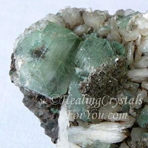 Green Apophyllite with White Stilbite