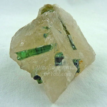 Green Tourmaline Included in Quartz