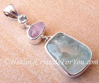 Blue Topaz, Morganite and Aquamarine Pendant