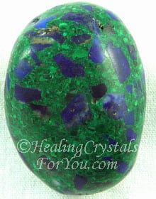 Blue Azurite Inclusion in Green Malachite