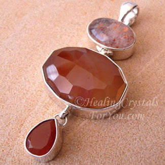 Carnelian and Sunstone Pendant