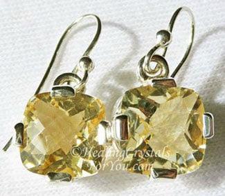 Citrine Crystal Earrings Set In Silver