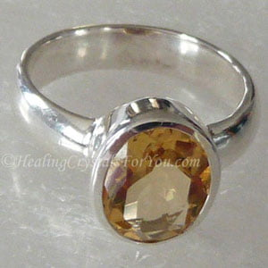 Citrine Quartz Crystal Ring