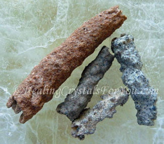Fulgurite stone tubes
