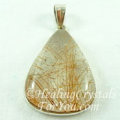 Golden Rutile in Quartz Pendant