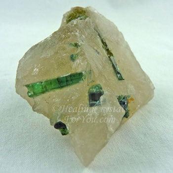 Green Tourmaline Included in Quartz