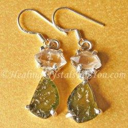 Moldavite Earrings With Herkimer Diamonds