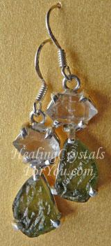Moldavite & Herkimer Diamond Earrings