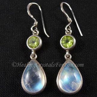 Peridot and Rainbow Moonstone earrings