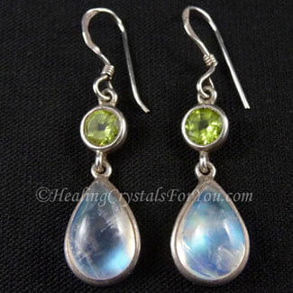 Peridot and Rainbow Moonstone earrings