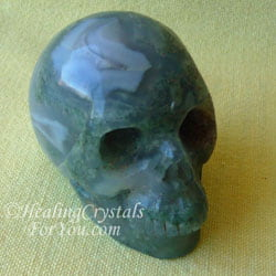 Moss Agate Crystal Skull