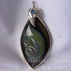 Black obsidian stone meaning uses cleanses aura of psychic smog rainbow obsidian rainbow obsidian pendant aloadofball Choice Image