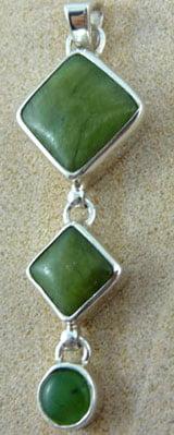Serpentine and Green Jade Pendant