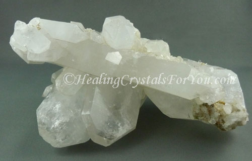 Clear Quartz Crystals in a Cluster