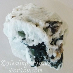 Dark Green Tourmaline in White Albite