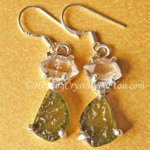 Moldavite & Herkimer Diamond Earrings