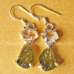 Moldavite Earrings With Herkimer Diamonds