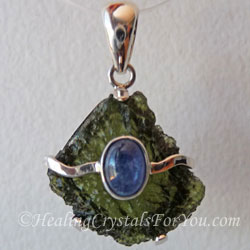 Moldavite and Blue Kyanite Pendant