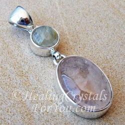 Morganite & Rutilated Quartz Pendant