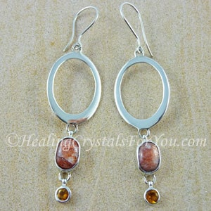 Sunstone Earrings With Citrine