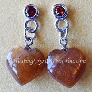 Sunstone And Red Garnet Earrings