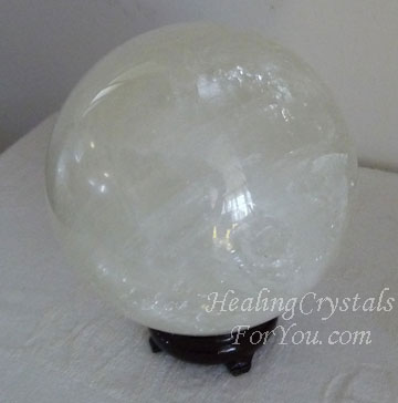 Large White Calcite Crystal Ball